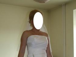 Jednoczęściowa biała suknia ślubna 36/38 + buty, musznik i kamizelka męska grati