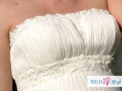 jedwabna suknia ślubna hiszpańskiej marki PRONOVIAS model 2010 MINERVA -ciężarna