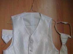 Kamizelka ślubna biała+musznik+butonierka