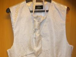 Kamizelka ślubna (biała obszyta srebrnymi, błyszczącymi nićmi)