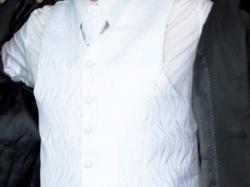 Kamizelka ślubna rozm. 54 biała + krawat + butonierka