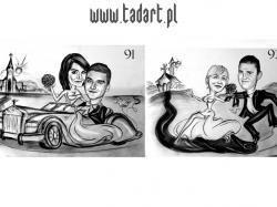 Karykatury na prezent ślub wesele podziękowanie dla świadków, rodziców, na rocznicę, Walentynki.