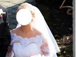 Klasyczna, elegancka suknia ślubna z koronkowym bolerkiem gratis