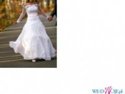 Klasyczna , piękna , biała suknia ślubna