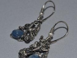 Kolczyki srebrne z kianitem