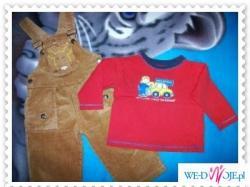 Komplet dla chłopca - spodnie ogrodniczki + bluzeczka rozm 80-86 !!! Polecam :))