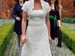 Koronkowa, elegancka suknia ślubna Mori Lee 38/40.
