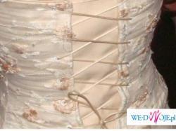 Koronkowa kremowo-perłowo-łososiowa suknia ślubna 34/36