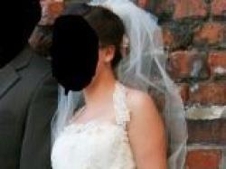 KORONKOWA, ŚLICZNA suknia ślubna jednoczęściowa+bolerko+welon -Ecru