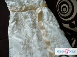koronkowa suknia ecru plus bolerko