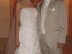 Koronkowa suknia ślubna ecru rozmiar 38