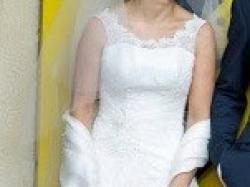 Koronkowa suknia ślubna Rita, ecru, rozm.36-40, Kraków
