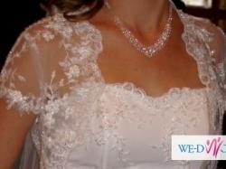 Koronkowa suknia ślubna z trenem + bolerko