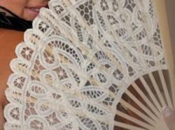 koronkowy wachlarz ślubny piękny retro jak nowy