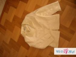 kostium garsonka suknia 3 części żakard ekru fuksja 40