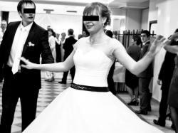 krótka suknia slubna lata 60-te roz 40-42