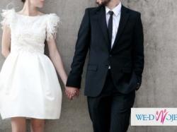 Krótka suknia ślubna z gipiurą od Femini