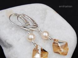 Kryształ Swarovski Cosmic Gold Shadow z Perłą Cream