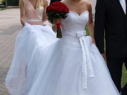 Księżniczka,piękna suknia Mon Cheri 3520  z trenem rozm. 36 + dodatki