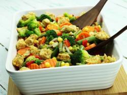 Kurczak z fasolką szparagową i brokułami