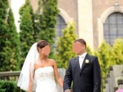 Lekka, zwiewna, romantyczna suknia ślubna rozm. 38 w kolorze ecru