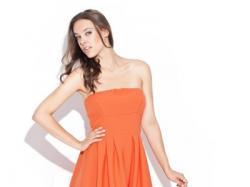 Letnia sukienka z dłuższym tyłem - beżowa, chabrowa, pomaranczowa, czarna