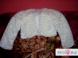 Mam do sprzedania bolerko ślubne białe w rozmiarze 38 wykonane z delikatnego fut