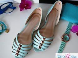 miętowe sandały balerinki 39