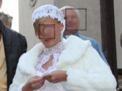 Motocyklem do ślubu Spodnie z białej skóry, spódnica, śliczny gorset dodatki