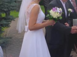 Muślinowa suknia ślubna z koronką 38/M