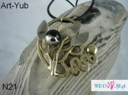 Naszyjnik autorski ,wykonany od podstaw ręcznie z kutego mosiadzu,nowego srebra