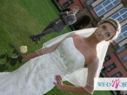 Niepowtarzalna, przepięknie ozdobiona suknia ślubna rybka, 36 ivory