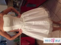 Nowa krótka suknia ślubna z bolerkiem