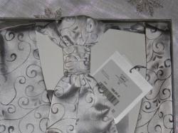 Nowa srebrna kamizelka ślubna + musznik