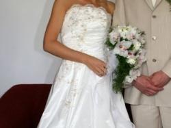 okazja- włoska suknia ślubna ecru z bolerkiem