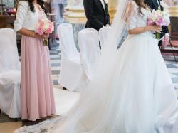 oryginalna angielska suknia ślubna Ronald Joyce księżniczka kryształki Swarovskiego z trenem roz. 38