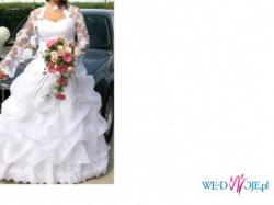 oryginalna, śnieżnobiała suknia ślubna