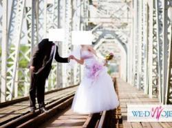 Oryginalna Suknia Ślubna – Biel + Róż