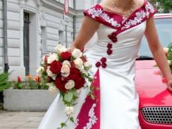 oryginalna suknia ślubna jasne ecru z bordo, rozmiar 36/38
