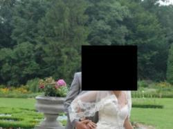 Oryginalna Suknia Ślubna z koronkowym gorsetem,capuccino ecru i złote wstawki
