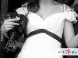 Oryginalna Włoska Biała Suknia Ślubna Tren R.38
