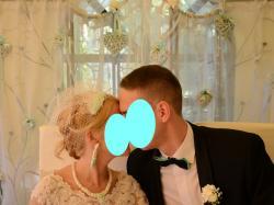 Oryginalny fascynator/toczek śluby biało-miętowy