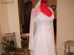 Piękna, biała suknia ślubna + bolerko z kolekcji Anny Lachor