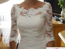 Piękna koronkowa suknia ślubna rozm. 34, 158 cm + obcas min. 6cm