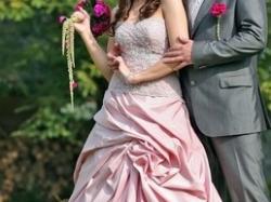 Piękna różowa suknia ślubna  włoskiej firmy LILEA