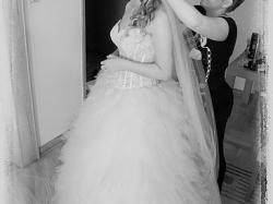 Piękna suknia Adria koronka tiul pióra