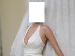 Piękna suknia ecru + długi welon