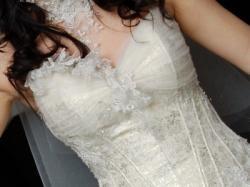 Piękna suknia  Farage Mix, kolor ecru-platyna