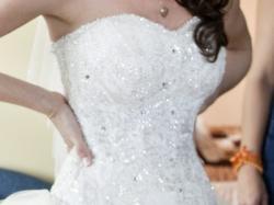 piękna suknia gala olga, ivory, falbany