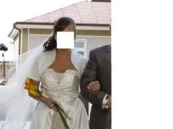 Piękna suknia ślubna, bolerko, welon
